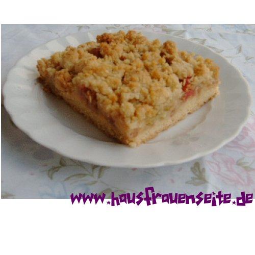 Rhabarberkuchen Mit Streusel Auf Dem Blech Rezept Mit Bild